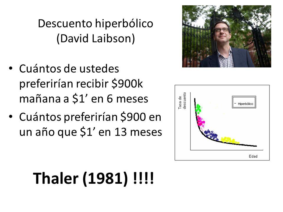 Descuento hiperbólico (David Laibson) Cuántos de ustedes preferirían recibir $900k mañana a $1 en 6 meses Cuántos preferirían $900 en un año que $1 en