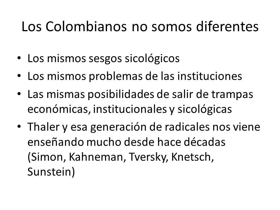 Los Colombianos no somos diferentes Los mismos sesgos sicológicos Los mismos problemas de las instituciones Las mismas posibilidades de salir de tramp