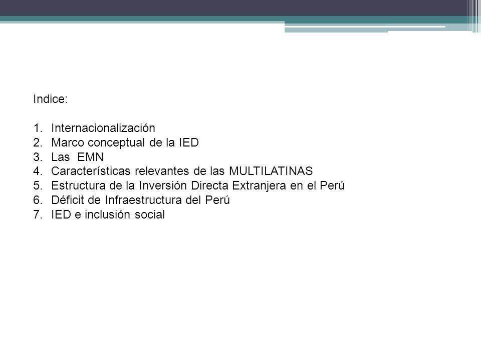 Indice: 1.Internacionalización 2.Marco conceptual de la IED 3.Las EMN 4.Características relevantes de las MULTILATINAS 5.Estructura de la Inversión Di