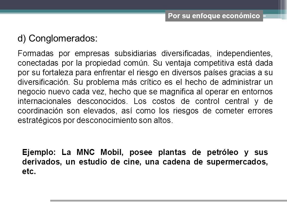 d) Conglomerados: Formadas por empresas subsidiarias diversificadas, independientes, conectadas por la propiedad común. Su ventaja competitiva está da