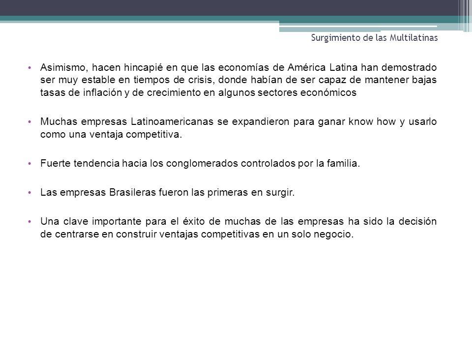 Surgimiento de las Multilatinas Asimismo, hacen hincapié en que las economías de América Latina han demostrado ser muy estable en tiempos de crisis, d