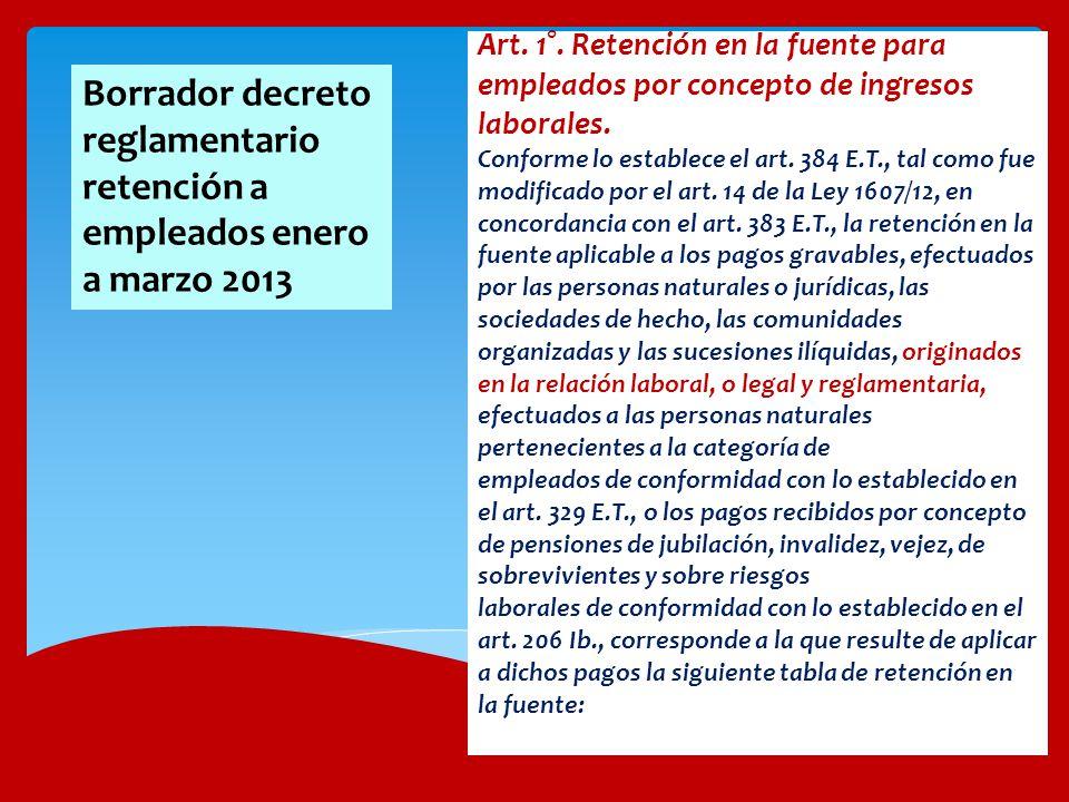 Art. 1°. Retención en la fuente para empleados por concepto de ingresos laborales. Conforme lo establece el art. 384 E.T., tal como fue modificado por