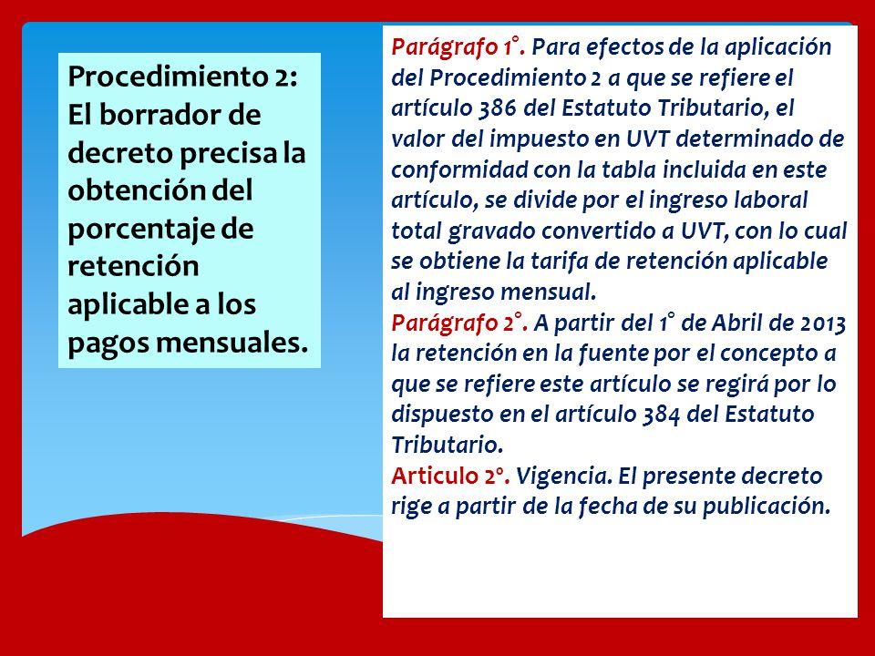 Parágrafo 1°. Para efectos de la aplicación del Procedimiento 2 a que se refiere el artículo 386 del Estatuto Tributario, el valor del impuesto en UVT