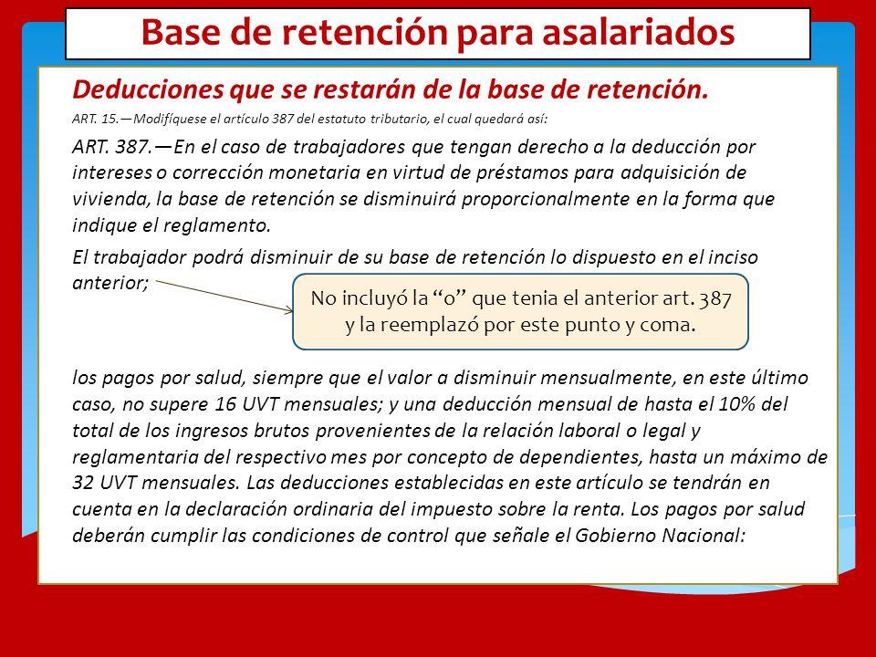 Base de retención para asalariados Deducciones que se restarán de la base de retención. ART. 15.Modifíquese el artículo 387 del estatuto tributario, e