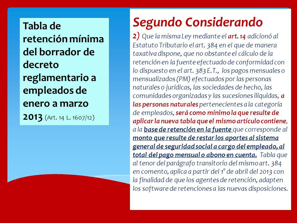 Segundo Considerando 2) Que la misma Ley mediante el art. 14 adicionó al Estatuto Tributario el art. 384 en el que de manera taxativa dispone, que no
