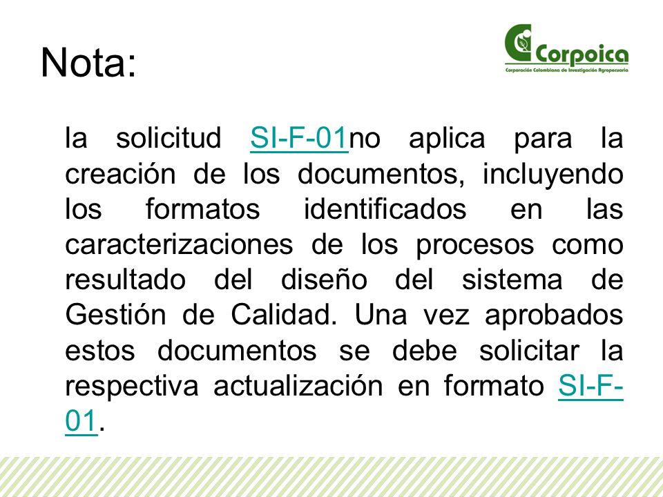 Nota: la solicitud SI-F-01no aplica para la creación de los documentos, incluyendo los formatos identificados en las caracterizaciones de los procesos