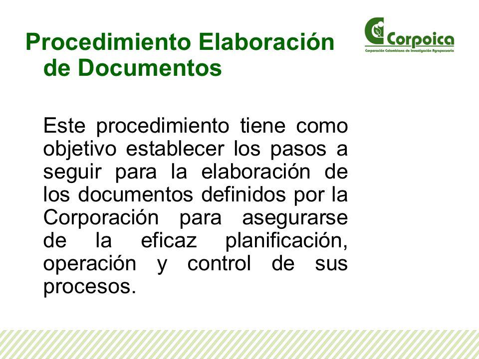 La Corporación cuenta con el procedimiento para la Elaboración de Documentos, identificado con el código SI-P- 01, que pueden consultar en Corponet, en la ruta: Corponet/ISO/certificación misional/Mapa de procesos/Sistema de gestión Integral/SI-P-01 Procedimiento Elaboración de Documentos