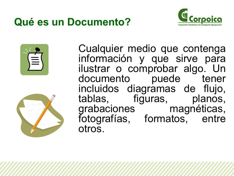 Qué es un Documento? Cualquier medio que contenga información y que sirve para ilustrar o comprobar algo. Un documento puede tener incluidos diagramas