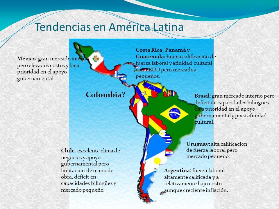 Brasil: gran mercado interno pero déficit de capacidades bilingües, baja prioridad en el apoyo gubernamental y poca afinidad cultural. México: gran me