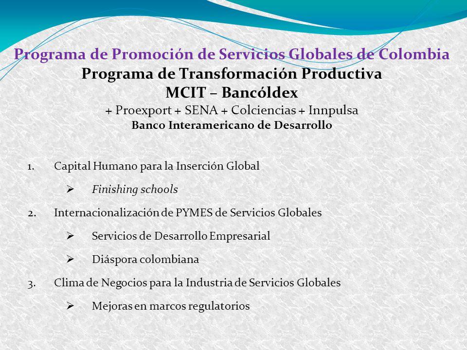 Programa de Promoción de Servicios Globales de Colombia Programa de Transformación Productiva MCIT – Bancóldex + Proexport + SENA + Colciencias + Innp