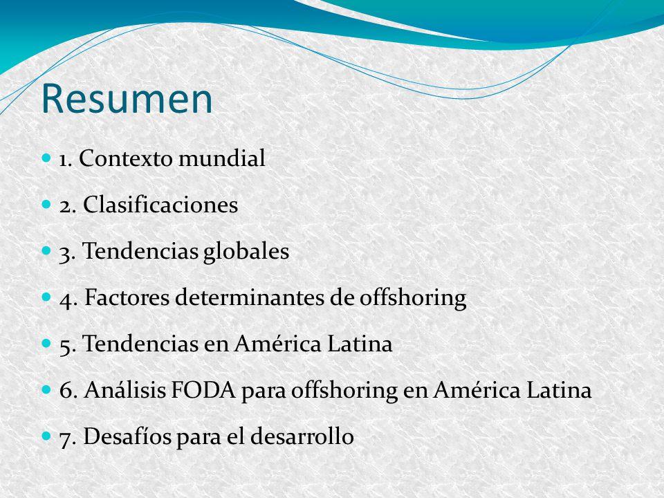 Resumen 1. Contexto mundial 2. Clasificaciones 3. Tendencias globales 4. Factores determinantes de offshoring 5. Tendencias en América Latina 6. Análi