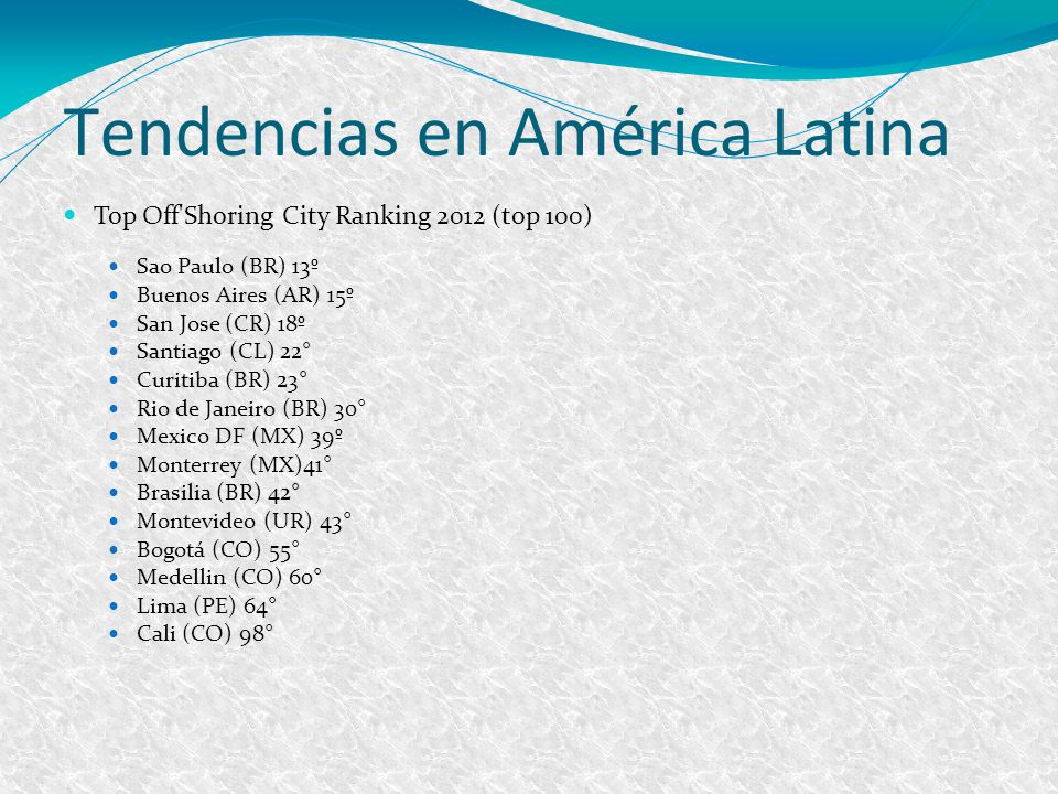 Tendencias en América Latina Top Off Shoring City Ranking 2012 (top 100) Sao Paulo (BR) 13º Buenos Aires (AR) 15º San Jose (CR) 18º Santiago (CL) 22° Curitiba (BR) 23° Rio de Janeiro (BR) 30° Mexico DF (MX) 39º Monterrey (MX)41° Brasilia (BR) 42° Montevideo (UR) 43° Bogotá (CO) 55° Medellin (CO) 60° Lima (PE) 64° Cali (CO) 98°