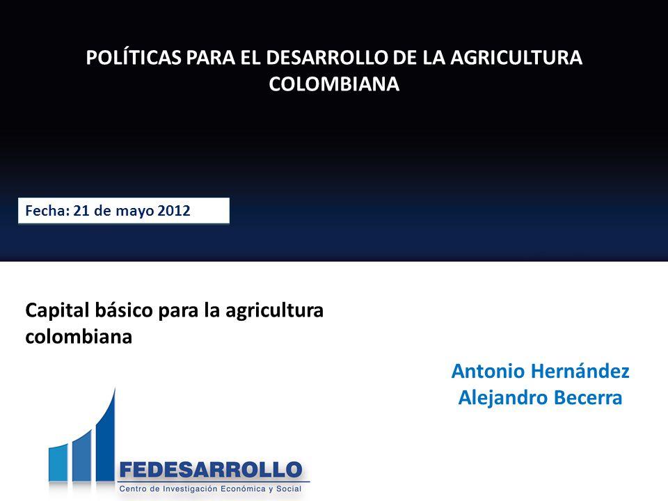 POLÍTICAS PARA EL DESARROLLO DE LA AGRICULTURA COLOMBIANA Fecha: 21 de mayo 2012 Antonio Hernández Alejandro Becerra Capital básico para la agricultura colombiana