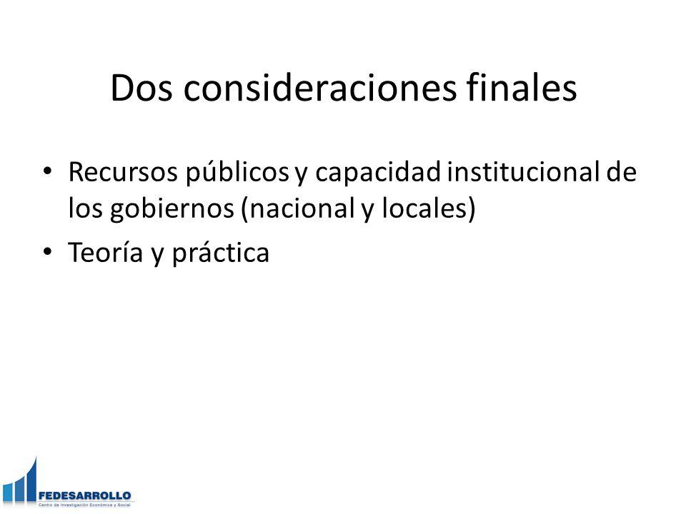 Dos consideraciones finales Recursos públicos y capacidad institucional de los gobiernos (nacional y locales) Teoría y práctica