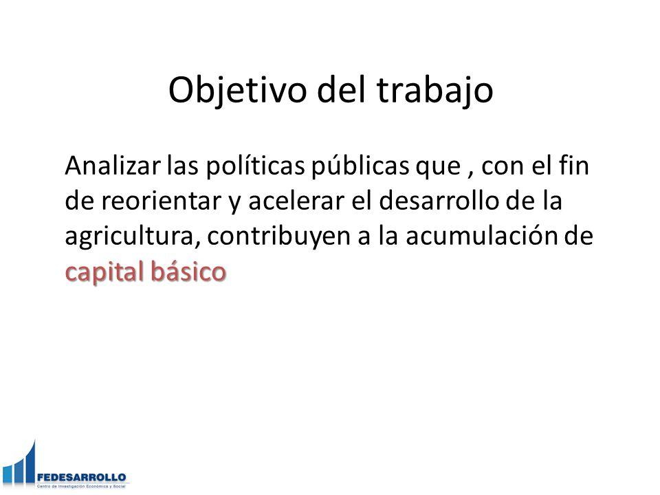 Objetivo del trabajo capital básico Analizar las políticas públicas que, con el fin de reorientar y acelerar el desarrollo de la agricultura, contribuyen a la acumulación de capital básico