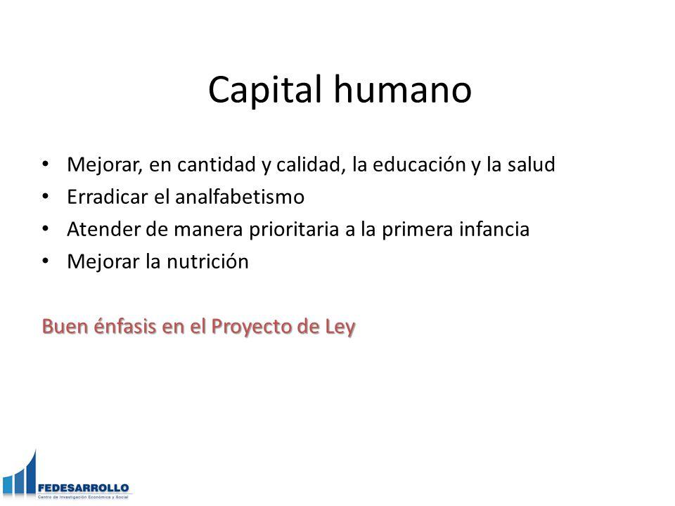 Capital humano Mejorar, en cantidad y calidad, la educación y la salud Erradicar el analfabetismo Atender de manera prioritaria a la primera infancia Mejorar la nutrición Buen énfasis en el Proyecto de Ley