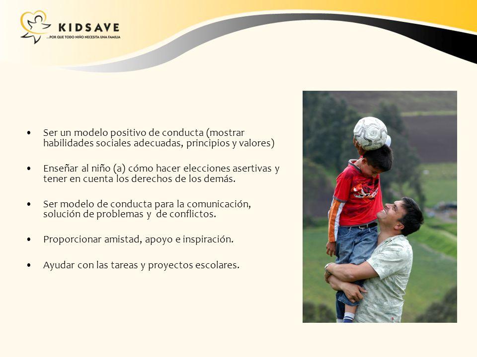 Ser un modelo positivo de conducta (mostrar habilidades sociales adecuadas, principios y valores) Enseñar al niño (a) cómo hacer elecciones asertivas