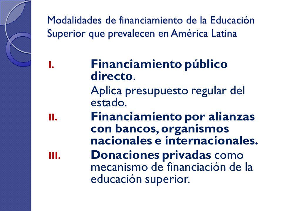 Modalidades de financiamiento de la Educación Superior que prevalecen en América Latina I. Financiamiento público directo. Aplica presupuesto regular