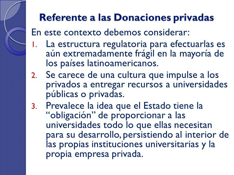 Referente a las Donaciones privadas En este contexto debemos considerar: 1. La estructura regulatoria para efectuarlas es aún extremadamente frágil en