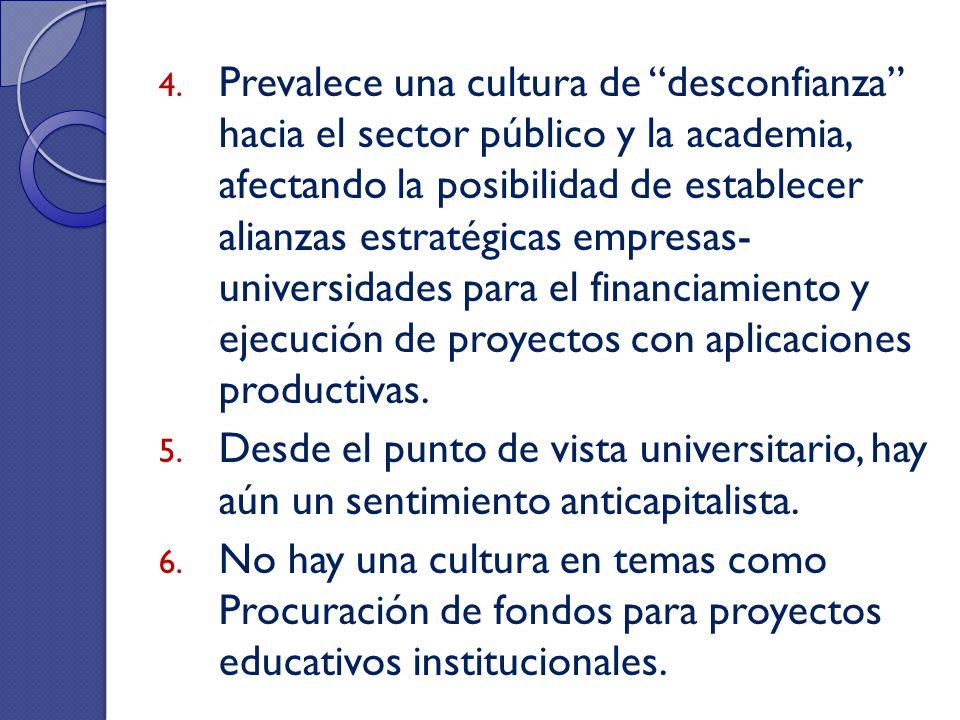 4. Prevalece una cultura de desconfianza hacia el sector público y la academia, afectando la posibilidad de establecer alianzas estratégicas empresas-