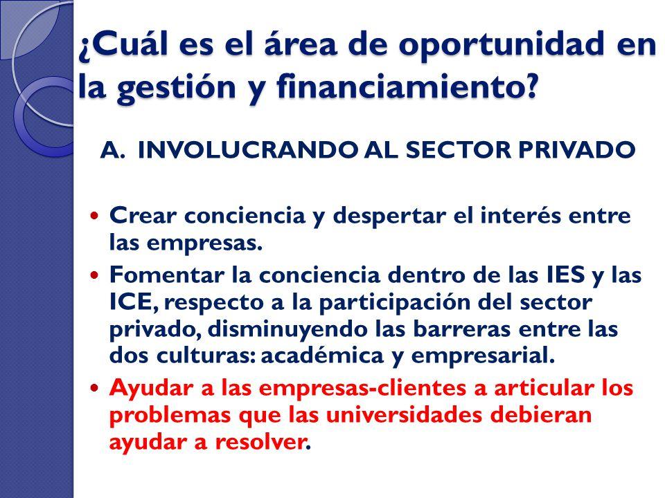 ¿Cuál es el área de oportunidad en la gestión y financiamiento? A. INVOLUCRANDO AL SECTOR PRIVADO Crear conciencia y despertar el interés entre las em