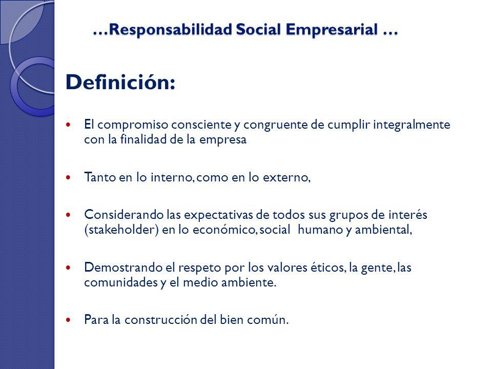 …Responsabilidad Social Empresarial … …Responsabilidad Social Empresarial … Definición: El compromiso consciente y congruente de cumplir integralmente