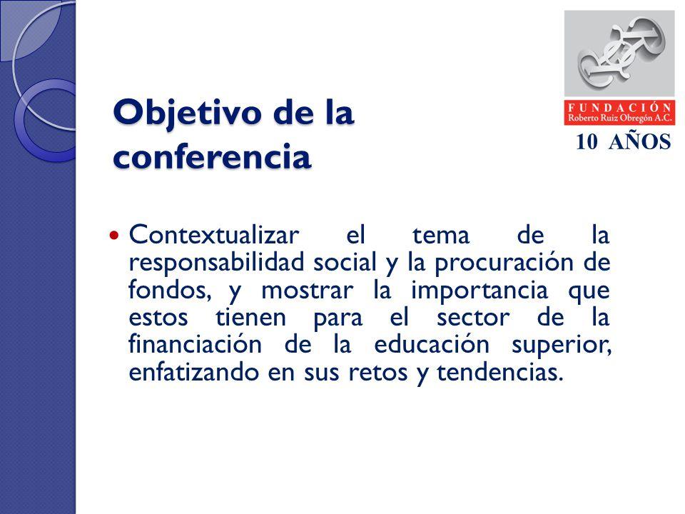 Objetivo de la conferencia Contextualizar el tema de la responsabilidad social y la procuración de fondos, y mostrar la importancia que estos tienen p
