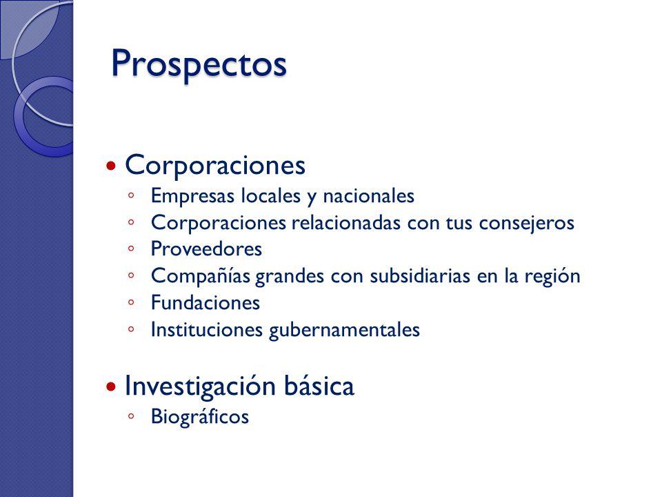 Prospectos Corporaciones Empresas locales y nacionales Corporaciones relacionadas con tus consejeros Proveedores Compañías grandes con subsidiarias en