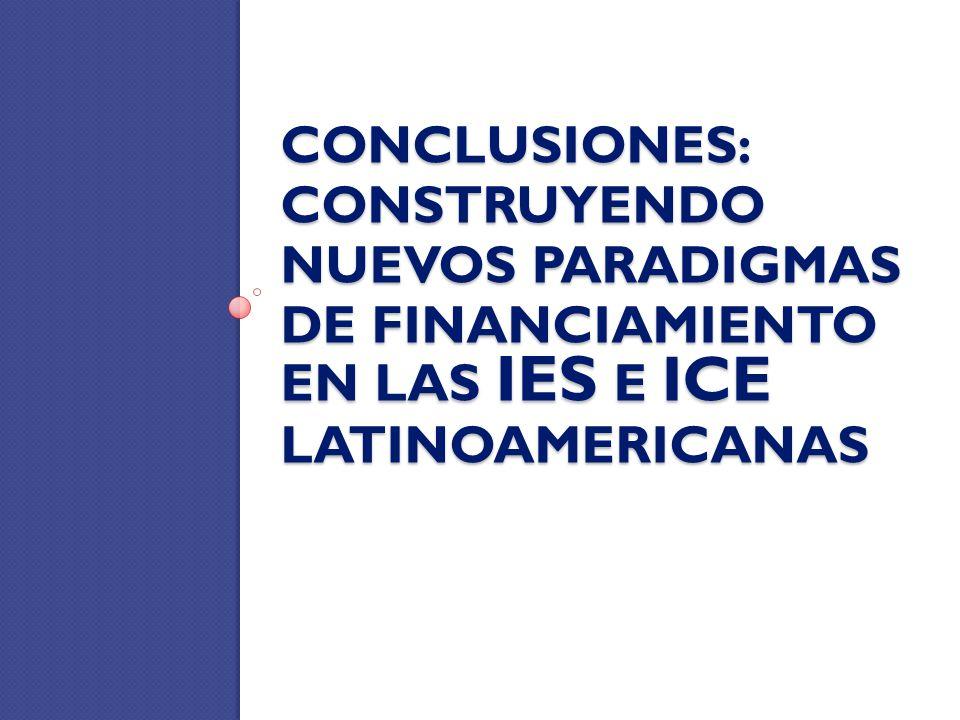 CONCLUSIONES: CONSTRUYENDO NUEVOS PARADIGMAS DE FINANCIAMIENTO EN LAS IES E ICE LATINOAMERICANAS