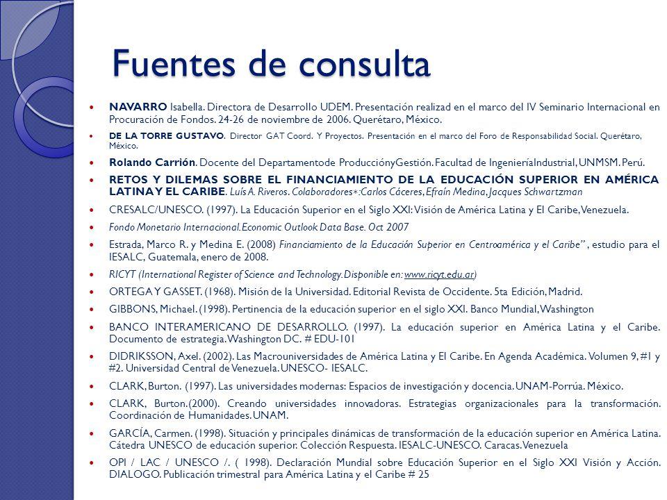 Fuentes de consulta NAVARRO Isabella. Directora de Desarrollo UDEM. Presentación realizad en el marco del IV Seminario Internacional en Procuración de