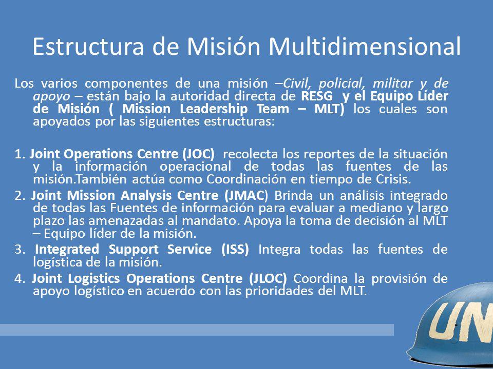 Estructura de Misión Multidimensional Los varios componentes de una misión –Civil, policial, militar y de apoyo – están bajo la autoridad directa de R