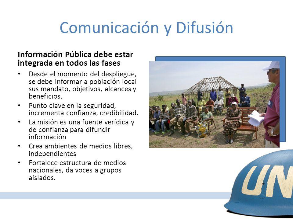 Misiones Multidimensionales y Consolidación de la Paz Información Pública debe estar integrada en todos las fases Desde el momento del despliegue, se