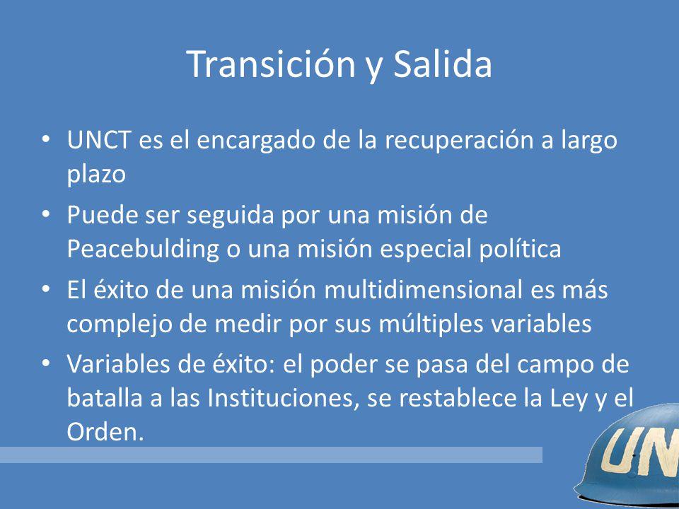 Transición y Salida UNCT es el encargado de la recuperación a largo plazo Puede ser seguida por una misión de Peacebulding o una misión especial polít