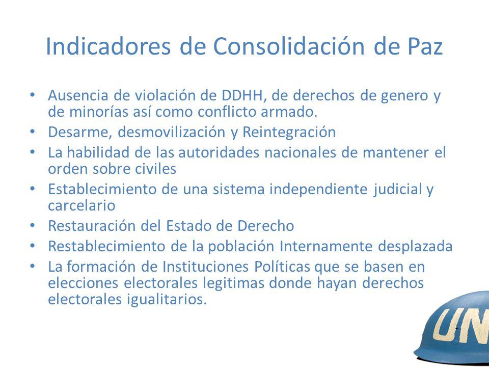 Indicadores de Consolidación de Paz Ausencia de violación de DDHH, de derechos de genero y de minorías así como conflicto armado. Desarme, desmoviliza