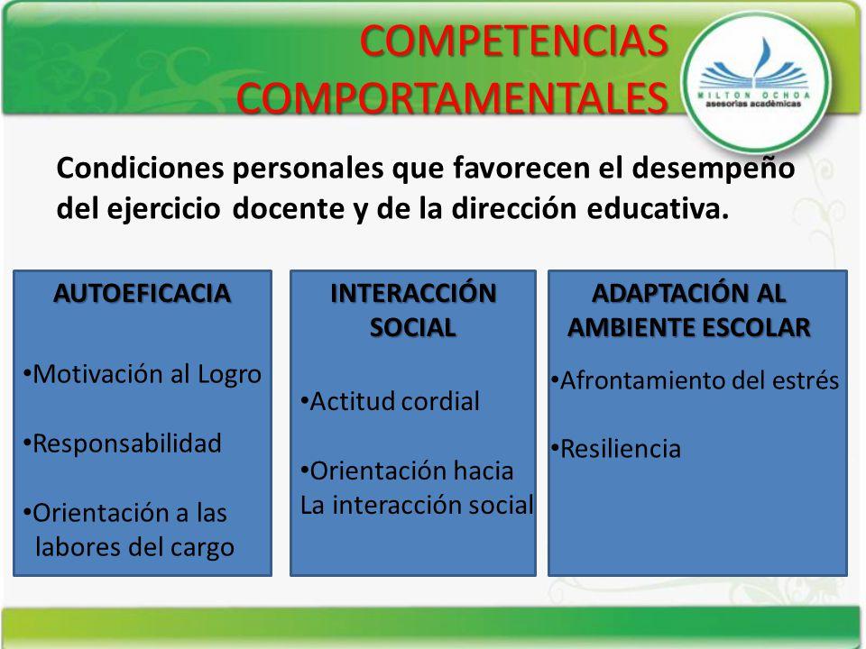 COMPETENCIAS COMPORTAMENTALES AUTOEFICACIA INTERACCIÓN SOCIAL ADAPTACIÓN AL AMBIENTE ESCOLAR Motivación al Logro Responsabilidad Orientación a las lab