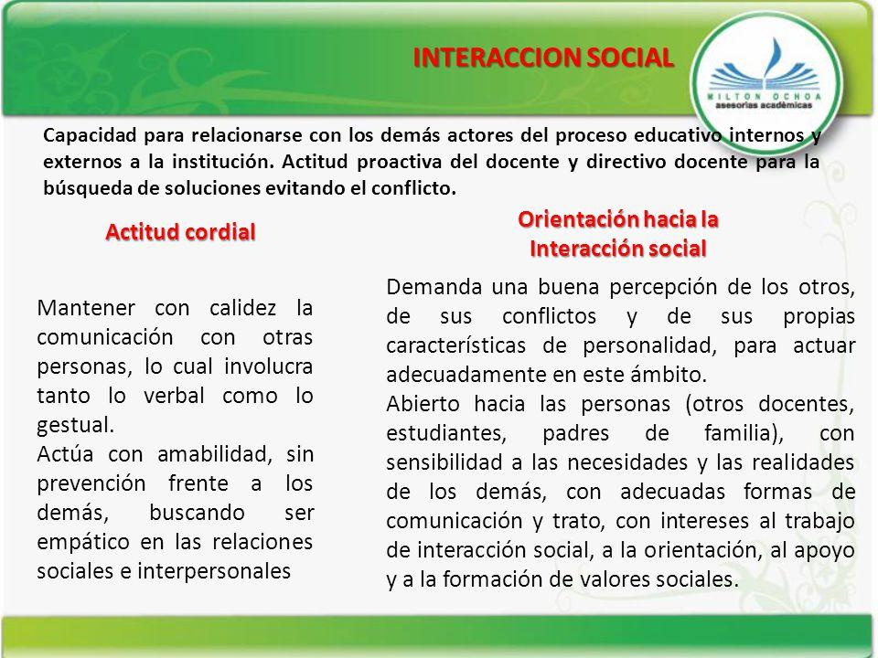 INTERACCION SOCIAL Actitud cordial Orientación hacia la Interacción social Capacidad para relacionarse con los demás actores del proceso educativo int