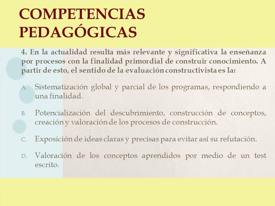 COMPETENCIAS PEDAGÓGICAS 4. En la actualidad resulta más relevante y significativa la enseñanza por procesos con la finalidad primordial de construir