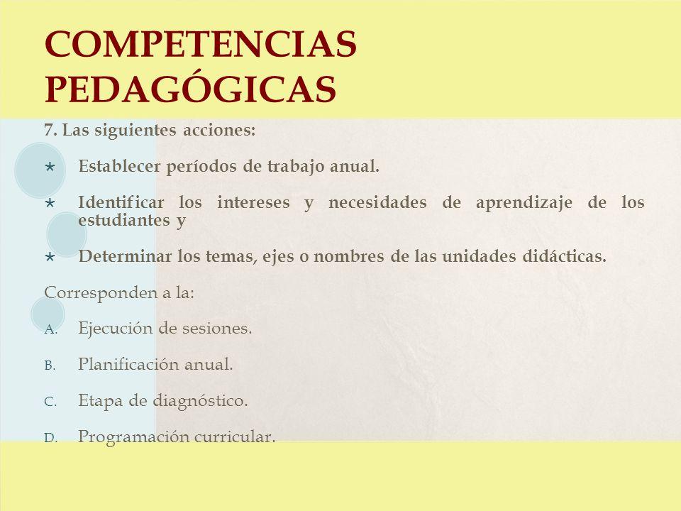 COMPETENCIAS PEDAGÓGICAS 7. Las siguientes acciones: Establecer períodos de trabajo anual. Identificar los intereses y necesidades de aprendizaje de l
