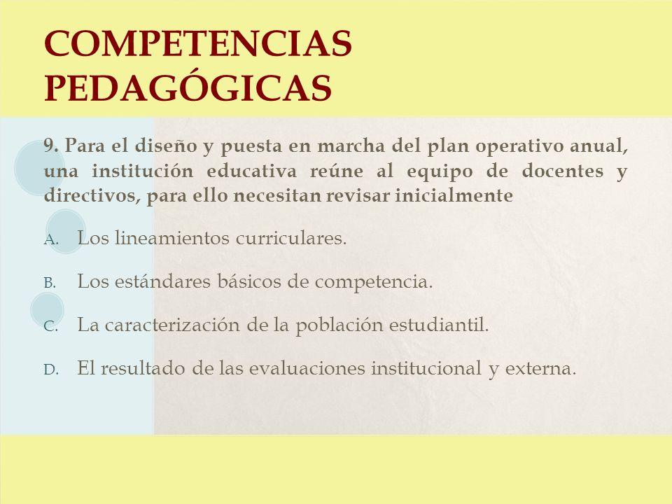 COMPETENCIAS PEDAGÓGICAS 9. Para el diseño y puesta en marcha del plan operativo anual, una institución educativa reúne al equipo de docentes y direct