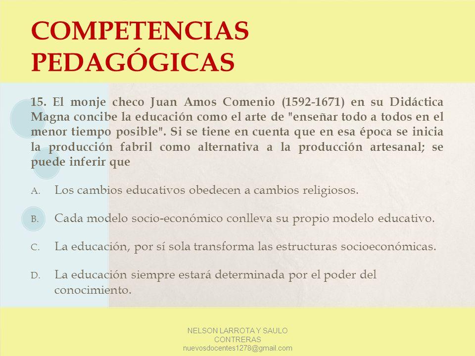 COMPETENCIAS PEDAGÓGICAS 15. El monje checo Juan Amos Comenio (1592-1671) en su Didáctica Magna concibe la educación como el arte de