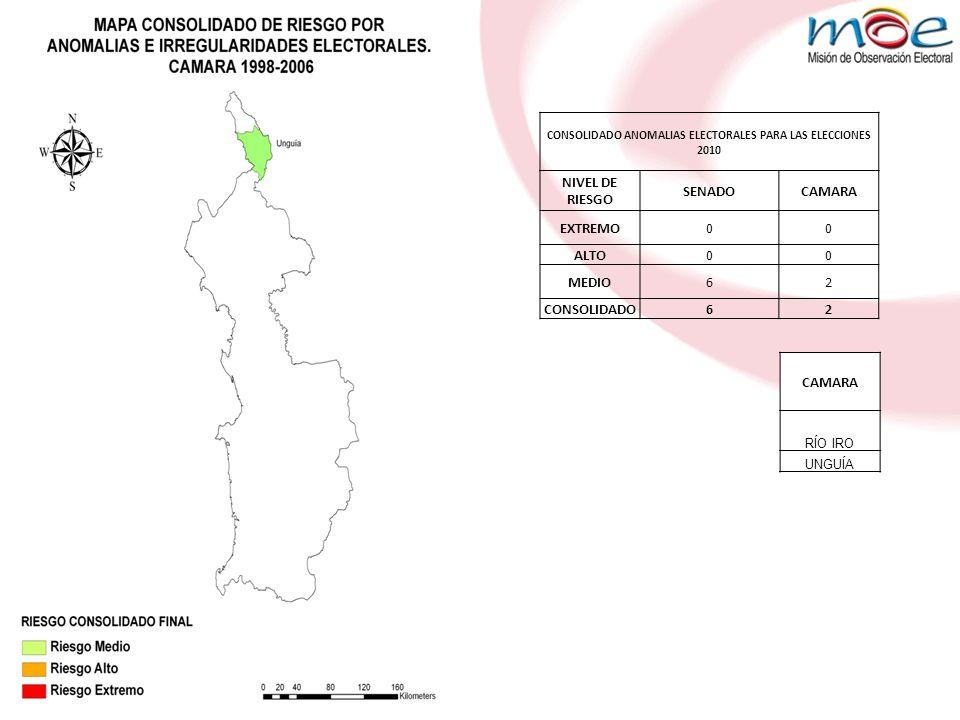 CONSOLIDADO ANOMALIAS ELECTORALES PARA LAS ELECCIONES 2010 NIVEL DE RIESGO SENADOCAMARA EXTREMO00 ALTO00 MEDIO62 CONSOLIDADO62 CAMARA RÍO IRO UNGUÍA