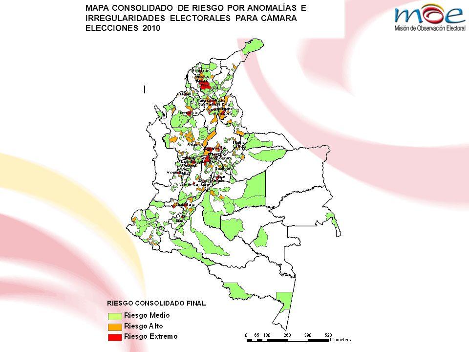 MAPA CONSOLIDADO DE RIESGO POR ANOMALÍAS E IRREGULARIDADES ELECTORALES PARA CÁMARA ELECCIONES 2010