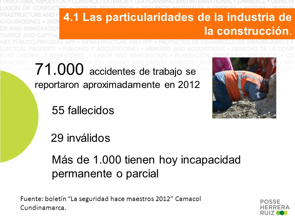 71.000 accidentes de trabajo se reportaron aproximadamente en 2012 55 fallecidos 29 inválidos Más de 1.000 tienen hoy incapacidad permanente o parcial Fuente: boletín La seguridad hace maestros 2012 Camacol Cundinamarca.