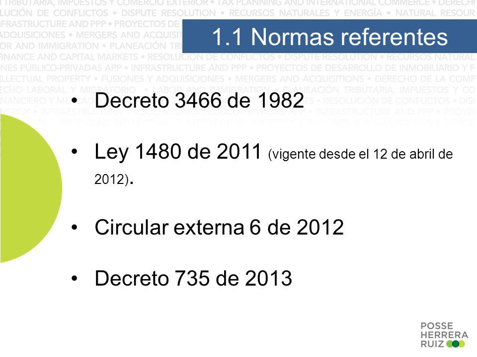 1.1 Normas referentes Decreto 3466 de 1982 Ley 1480 de 2011 (vigente desde el 12 de abril de 2012).