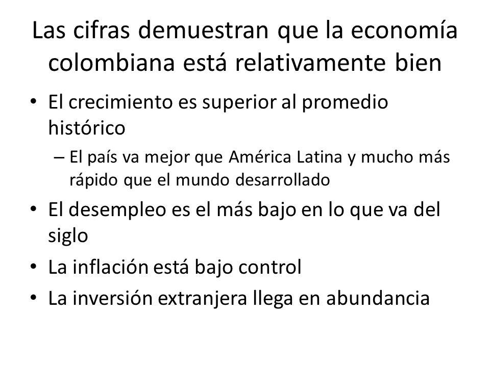 Las cifras demuestran que la economía colombiana está relativamente bien El crecimiento es superior al promedio histórico – El país va mejor que América Latina y mucho más rápido que el mundo desarrollado El desempleo es el más bajo en lo que va del siglo La inflación está bajo control La inversión extranjera llega en abundancia