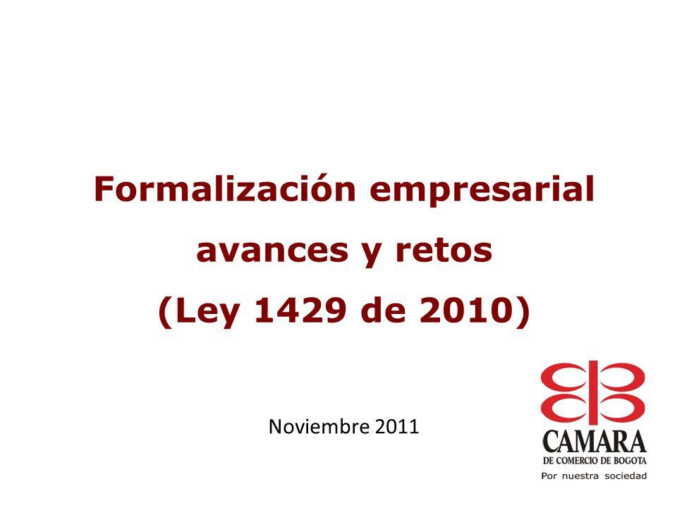 El 72% se crearon con activos hasta de $5 millones y el 1.7% con activos superiores a $150 millones Fuente: Registro mercantil, Cámara de Comercio de Bogotá, 2011 Cálculos: Dirección de Estudios e Investigaciones, CCB.