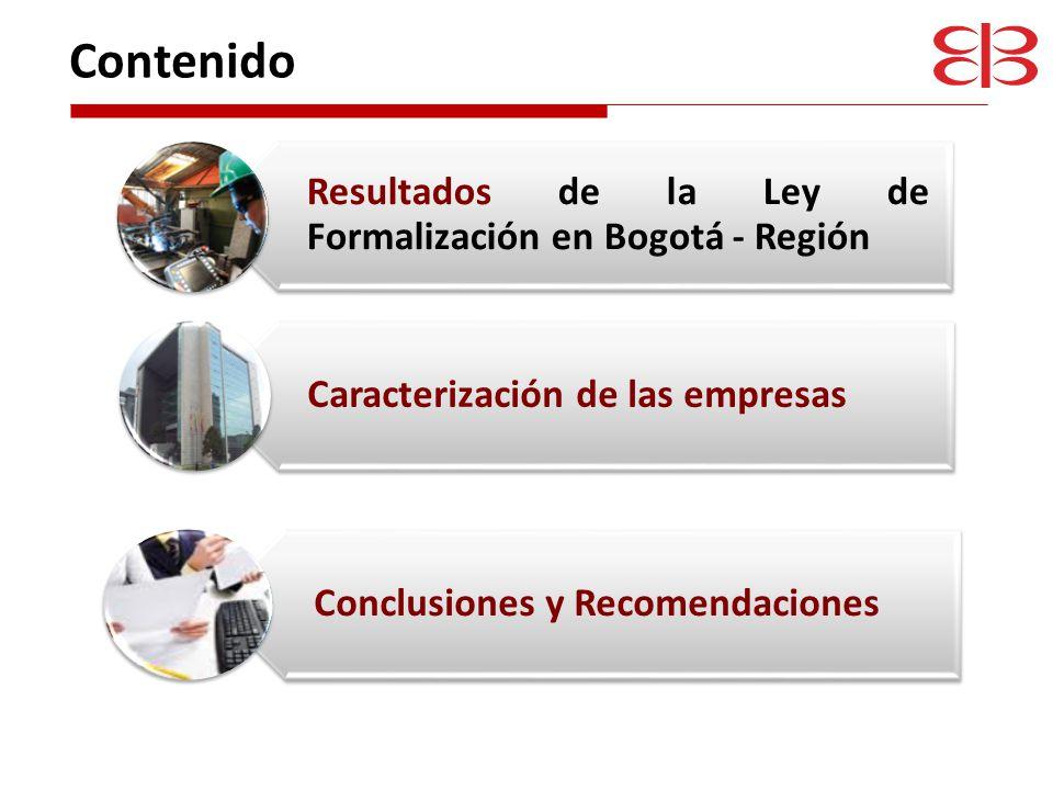 La Ley de formalización dinamizó la creación de empresas En Bogotá - Región el crecimiento fue del 30%, El promedio de la Nación fue del 9,6%.