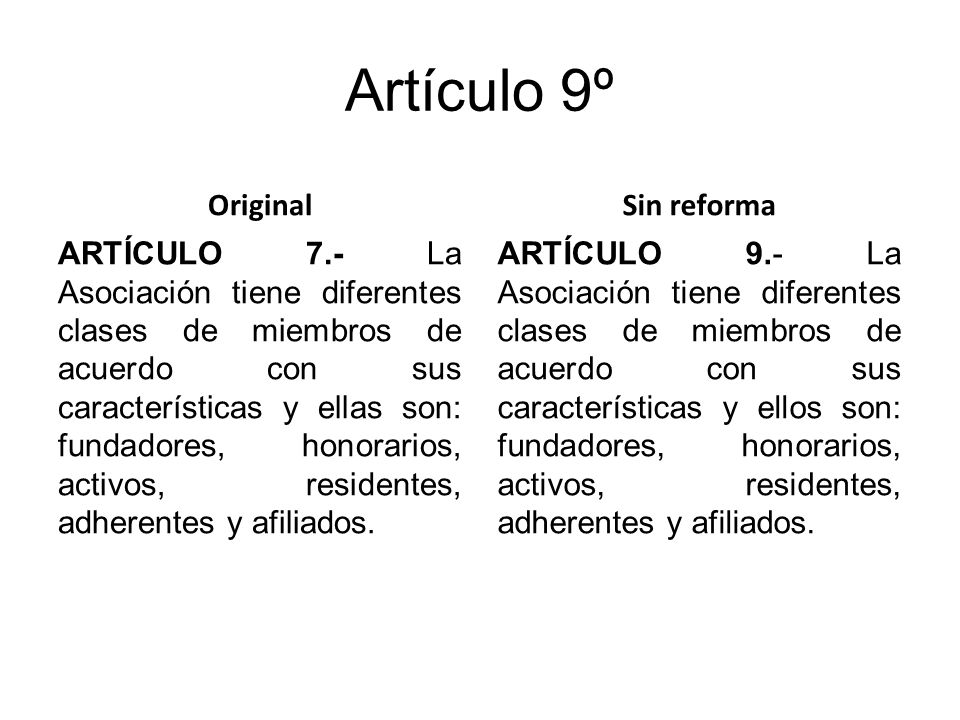 Artículo 9º Original ARTÍCULO 7.- La Asociación tiene diferentes clases de miembros de acuerdo con sus características y ellas son: fundadores, honorarios, activos, residentes, adherentes y afiliados.