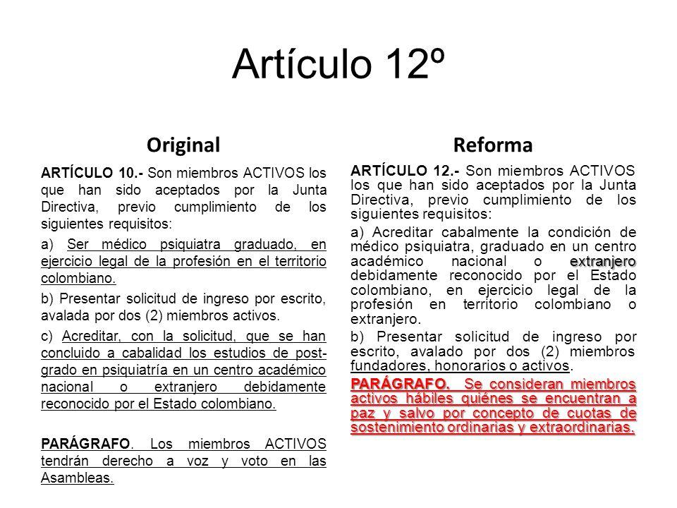 Artículo 12º Original ARTÍCULO 10.- Son miembros ACTIVOS los que han sido aceptados por la Junta Directiva, previo cumplimiento de los siguientes requisitos: a) Ser médico psiquiatra graduado, en ejercicio legal de la profesión en el territorio colombiano.