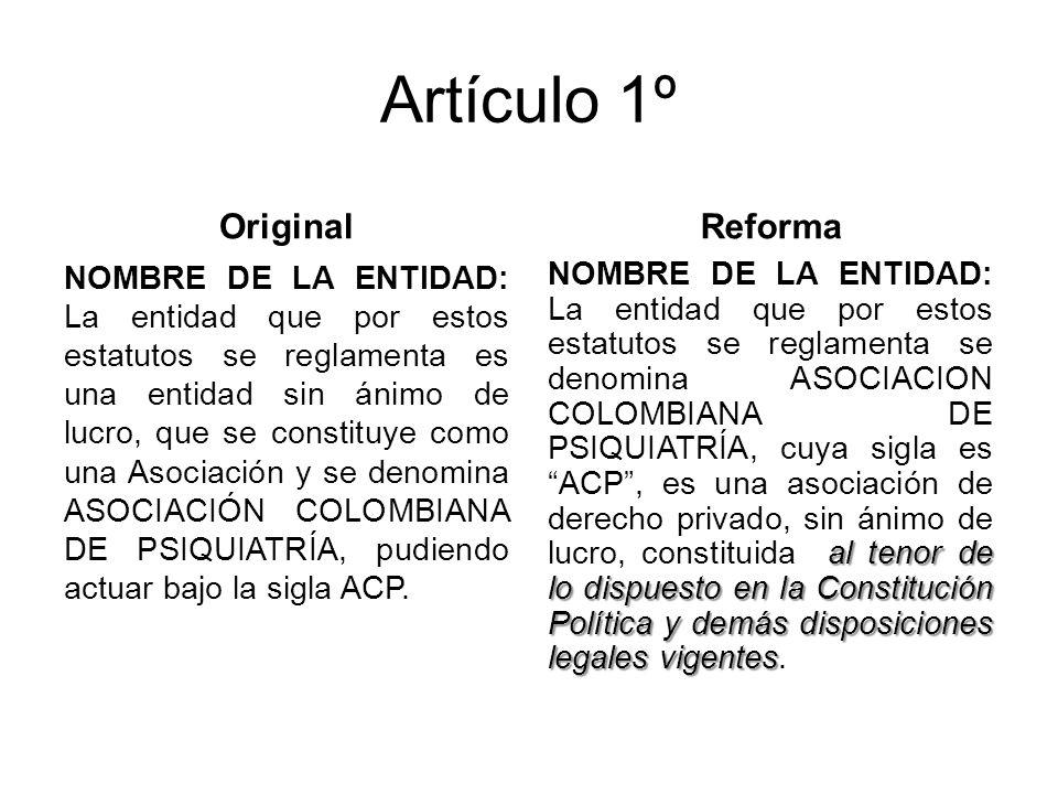 Artículo 1º Original NOMBRE DE LA ENTIDAD: La entidad que por estos estatutos se reglamenta es una entidad sin ánimo de lucro, que se constituye como una Asociación y se denomina ASOCIACIÓN COLOMBIANA DE PSIQUIATRÍA, pudiendo actuar bajo la sigla ACP.